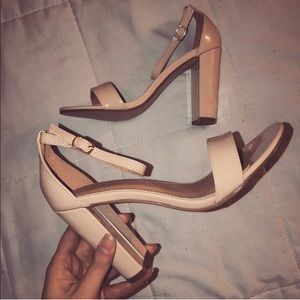 Shoes - Nude Patent Chunky Heels